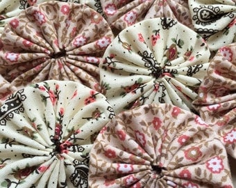 """dusty pink mauve and tan flower print and black and white paisley print 2"""" fabric yoyo embellishments- mixed lot of 11"""