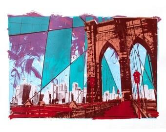 Riding New York - limited edition screen print, Booklyn Bridge, New York City Urban Art