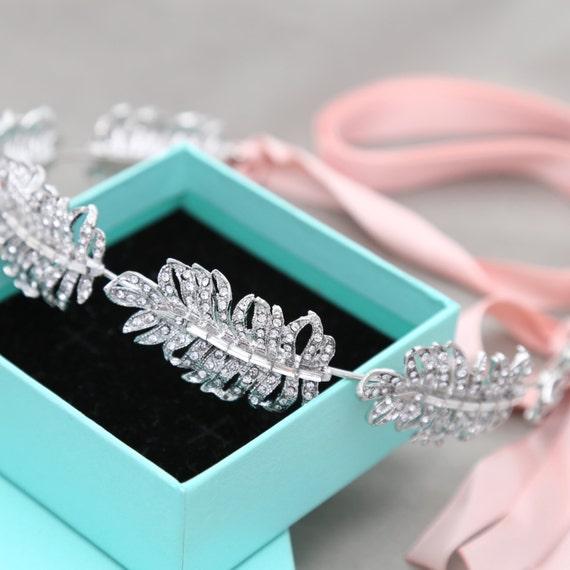 Crystal Feather Bridal Tiara, Ribbon Headband, Swarovski Crystal Feather Bridal Headpiece,Crystal Headband, Diamante Feather Headpiece