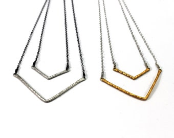 Chevron Necklace. Mixed Metals. Double V Necklace.  Gold, Silver, Black Silver, You Can Choose. NM-2028-1