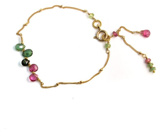 Watermelon Tourmaline  Bracelet. Personalized Birthstone Options. Gold Filled or 925 Silver. Gemstone Tassels. B-1772