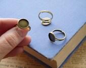 4 pcs Adjustable Filigree Bronze Round Cabochon Cab Setting Ring (Fits 12mm)  (BF2823)