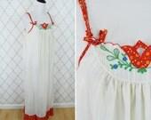 Vintage 1960's Cream Semi Sheer Cotton Night Gown- Cute  Mu Mu Nightie- Ladies Size Small to Medium- Size 5