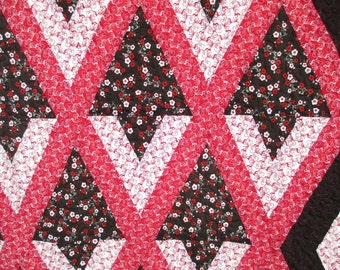 Red and Black Diamonds Generous Queen Sized Quilt