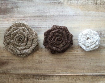"Set of 5- Burlap Rosettes-1.5"" Small- 3 Colors Available- Weddings/ Country/ Folk/ Rustic-Fabric Flowers-Fabric Rosettes-Home Decor DIY"