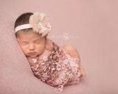 Pink Headband, Floral Headband, Baby Headband- Baby pink and cream floral Rhinestone headband Baby Headband