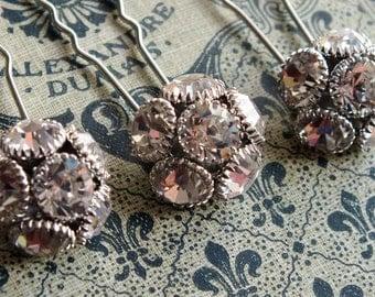 crystal cluster rhinestone and hairpins, rhinestone wedding accessory, diamante hair pins