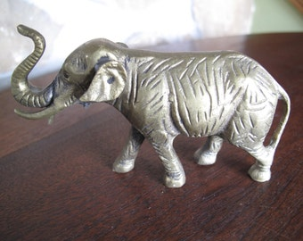 Brass Elephant Figurine, Statue, Feng Shui, Walking Elephant, Raised Trunk