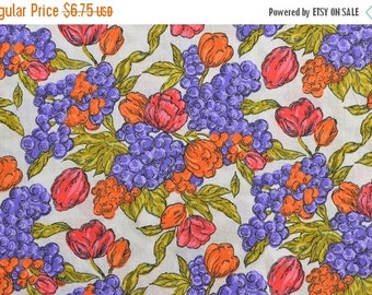 25% OFF Vintage Floral Fabric, Fruit Fabric, Tulip Fabric, Orange and Purple, Cotton Floral Fabric, Vintage Fabric by the Yard - 1 Yard - CF