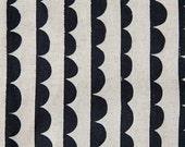 Half Yard, Ellen Baker, Half Round in Black and White Canvas, Stamped, Charms, Canvas