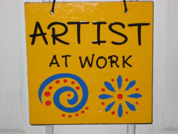 Artist At Work And Art Studio Sign Art By Quiltbarnsandfolkart
