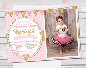 Minnie Mouse Invitation, Oh Twodles Invitation, Pink and Gold Minnie Mouse 1st 2nd Birthday Invitations, Girls First Second Birthday Invite