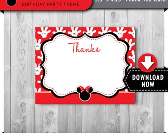 Minnie Mouse Thank You Cards, Printable Minnie Mouse Thank You Card, Red and Black, Instant Download
