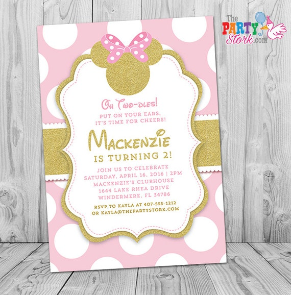 Minnie Mouse Invitation Pink And Gold Minnie Mouse Invites Pink - 1st birthday invitations gold and pink