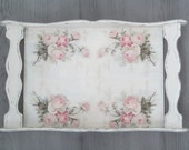 Wooden Tray Shabby Chic Home Decor Rose Wedding Gift Hostess Housewife Mother Gift