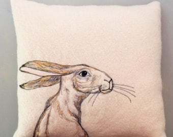 East facing hare cushion cover.