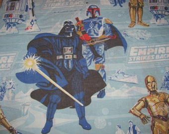 Vintage Star Wars Empire Strikes Back Twin Flat Sheet/Material - Darth Vader, Boba Fett, Han, Chewie, Leia, R2D2, C3P0 - Retro Fabric