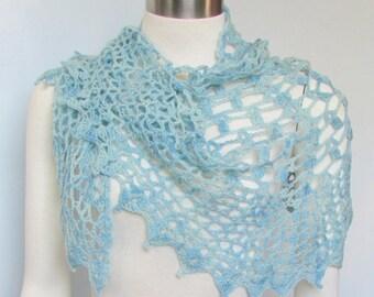 Blue Lace Shawlette crocheted scarf lace wrap handmade shawl