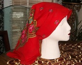 Vintage CHALLIS Scarf, 100% wool, red, babushka