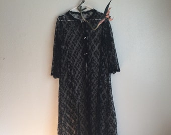 Vintage maxi robe coat lace goth punk jacket sheer see through black pearl rockabilly tumblr 90s 70s lingerie
