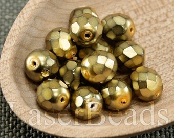 20pc Faceted beads 8mm Yellow gold Fire polished 8mm beads yellow czech beads Coated Carmen beads