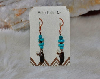 Sleeping Beauty Turquoise with Real Coyote Claws Copper Earrings