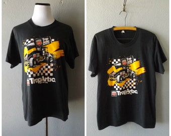 Worn In Racing T Shirt | Vintage 80s Screen Stars Faded Thin Tee Sz L Large Mens Womens Race Car Tshirt 1980s Hipster Grunge Top Checkered