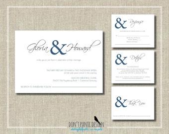 Printable Wedding Invitation Set - Simple Elegant Digital Printable Invitation and RSVP Set - Anniversary, Rehearsal