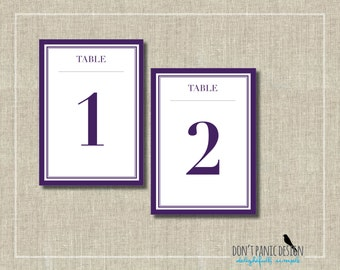 Classic and Modern Printable Table Numbers 1-30  Purple and Sage Green - Event Table Numbers - Instant Download