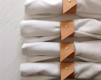 Napkin Rings made with Recycled Leather and Brass