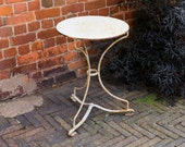 Reserved for Marie Vintage Garden  Table, simple, elegant, stylish, painted white, rusty, cast metal, metal top, french bistro style