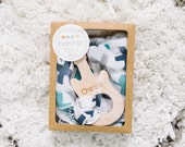 ANY Personalized Teether + Your Choice of Lovey Set - Wooden Baby Teethers - Organic and Safe