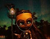 Gnowee, Aboriginal Sun Goddess Custom Blythe Art Doll & Diorama LED Stand