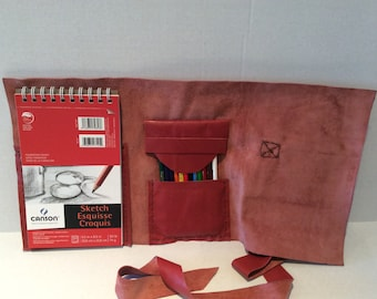 Sketchbook,Drawing Case Made of Vintage Leather,Artist and Designer Tooled Case Made By NadiraBag