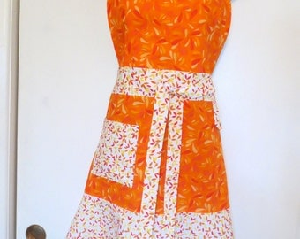Orange/White Print Full Apron