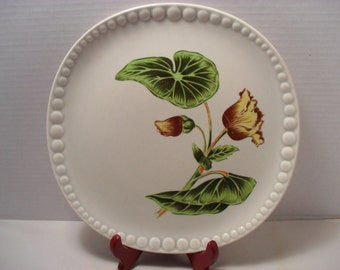 Gray-Lure by Crooksville Beautiful Unusual Flower Plate Square Raised Dots Floral Decorative