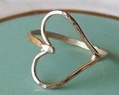 ON SALE Hammered Sideways Heart Gold Filled Ring - Heart Ring - Gold Ring - Hammered Gold Filled Ring
