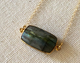 Small Labradorite Pendant on 14k Gold Filled Chain