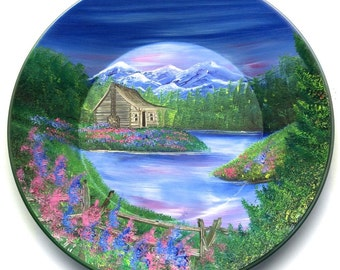 Hand Painted 11 Inch Gold Pans Mountain Spring Cabin
