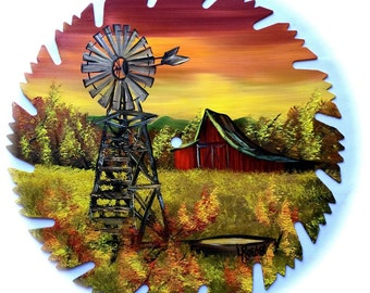 Hand Painted Saw Blade Mountain Fall Red Barn and Windmill