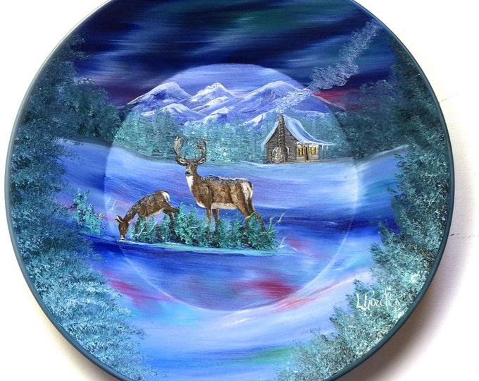 Hand Painted 11 Inch Gold Pans Mountain Blue Winter Deer Northern Lights