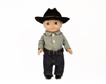 Vintage Buddy Lee Doll / 1950's / Original Cowboy Doll / Vintage Toy / Lee Overalls & Clothing Advertisement