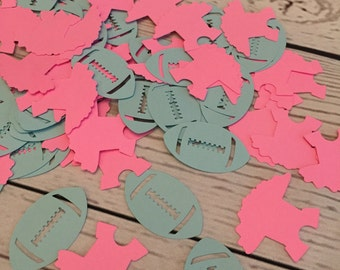 Touchdowns or Tutu Gender Reveal Confetti - He or She - what will it be - boy girl  - Baby Shower - Twins
