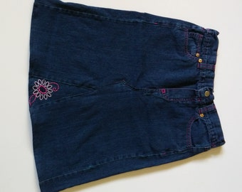 Girls Jean Skirt - Pink Embroidered Flower