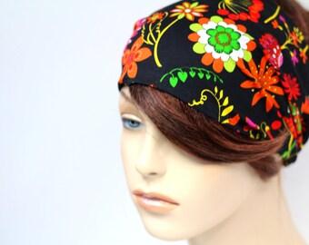 Bright Colorful Black Floral Print Headband Womens Headband Bandana Headband Head Wrap Hair Accessory Womens Gift for Her Gift Ideas