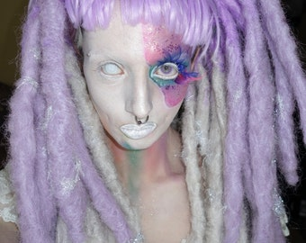Silver and lilac crocheted princess dread wig