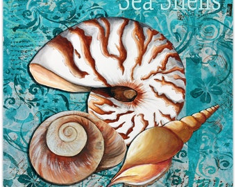 Beach Decor 'Sea Shells' by Megan Duncanson - Coastal Bathroom Art Seashell Painting on Metal or Acrylic
