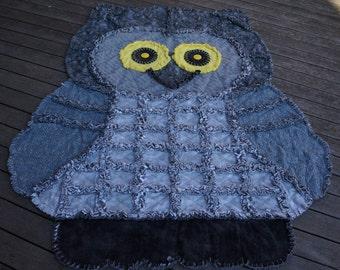 OWL RAG QUILT, Animal Rag Quilt,Keepsake Quilt,Childrens Rag Quilt,Grey Owl Quilt,Cozy Quilt,Sofa Throw,Owl Wall Hanging