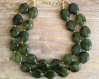 Statement Necklace Bridesmaid Jewelry OLIVE GREEN Necklace Wedding Jewelry Statement Jewlery sparkle Necklace Bib Necklace EMERALD necklace