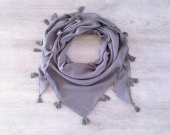 Gray Yemeni Scarf - Shawl - Square - Fabric Infinity Scarf - Cotton Scarf - Fringe